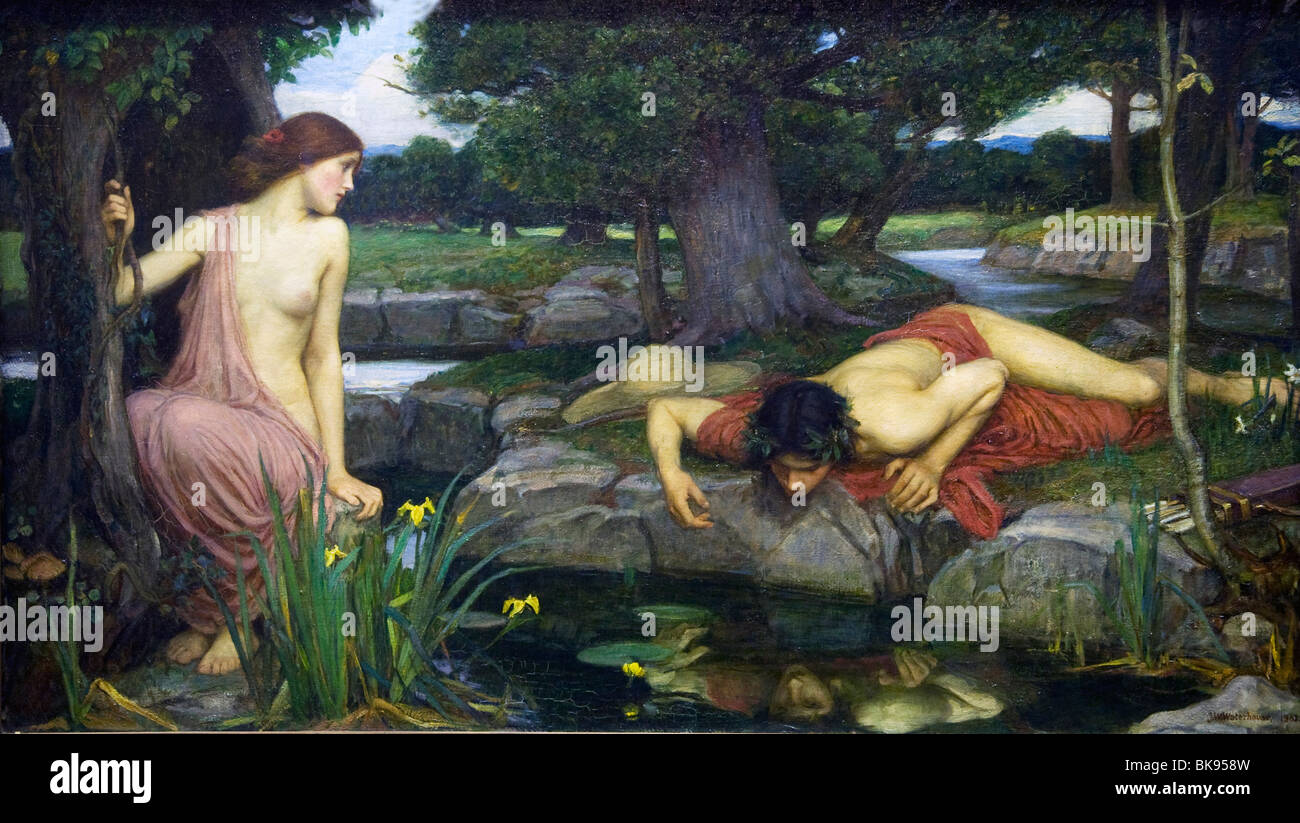 Echo and Narcissus by John William Waterhouse painted 1903 - Stock Image