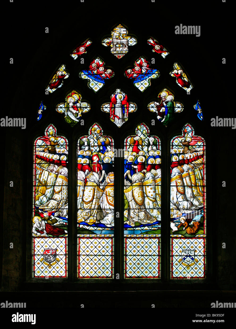 East Stained Glass Window by Lavers Barraud and Westlake, Church of St Mary the Virgin, Cropredy, Oxfordshire - Stock Image