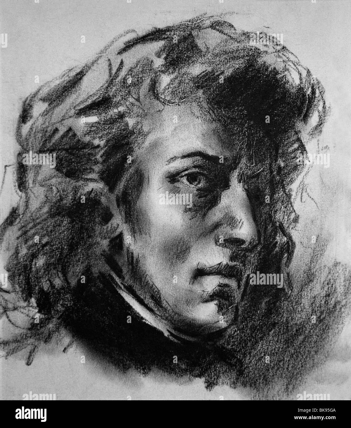 Portrait of Frederic Chopin by Eugene Delacroix, Royal Carthusian Monastery, Mallorca, Spain - Stock Image