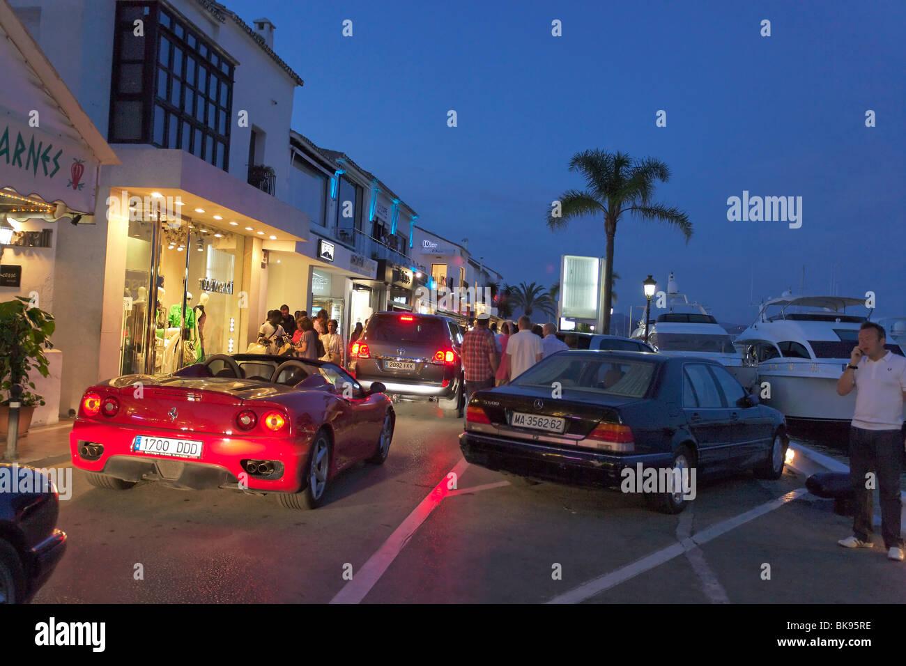 luxury cars restaurants near harbour puerto banus marbella andalusia spain