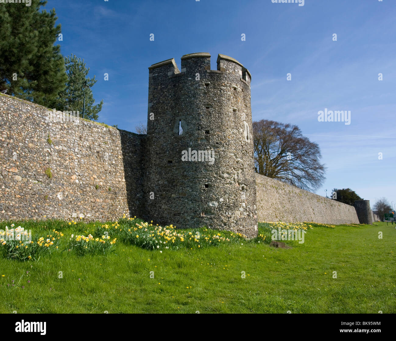 Canterbury's city wall and watch tower in Canterbury, Kent, UK. Stock Photo