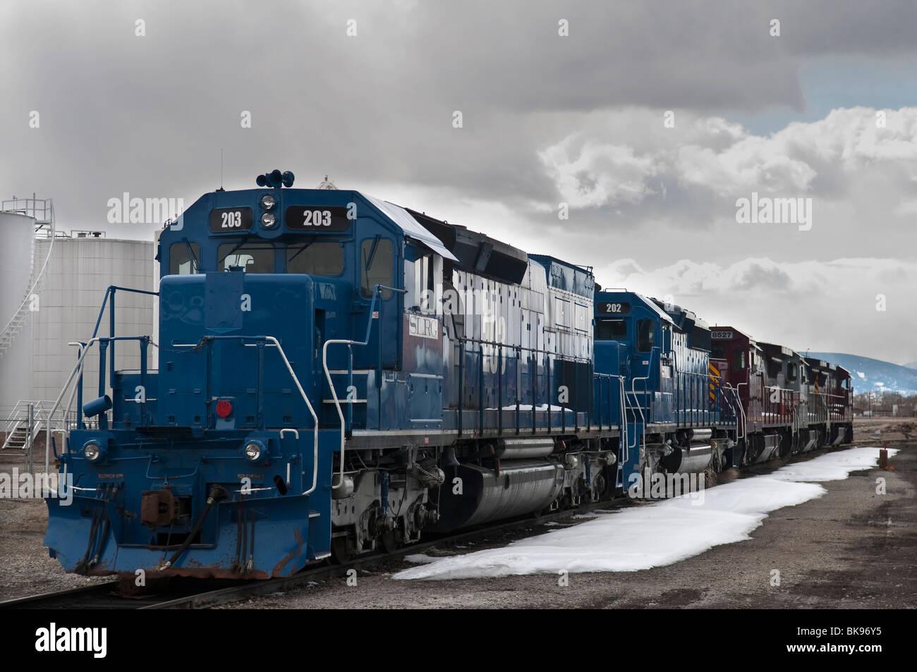 Old San Luis & Rio Grande railroad diesel locomotive - Stock Image