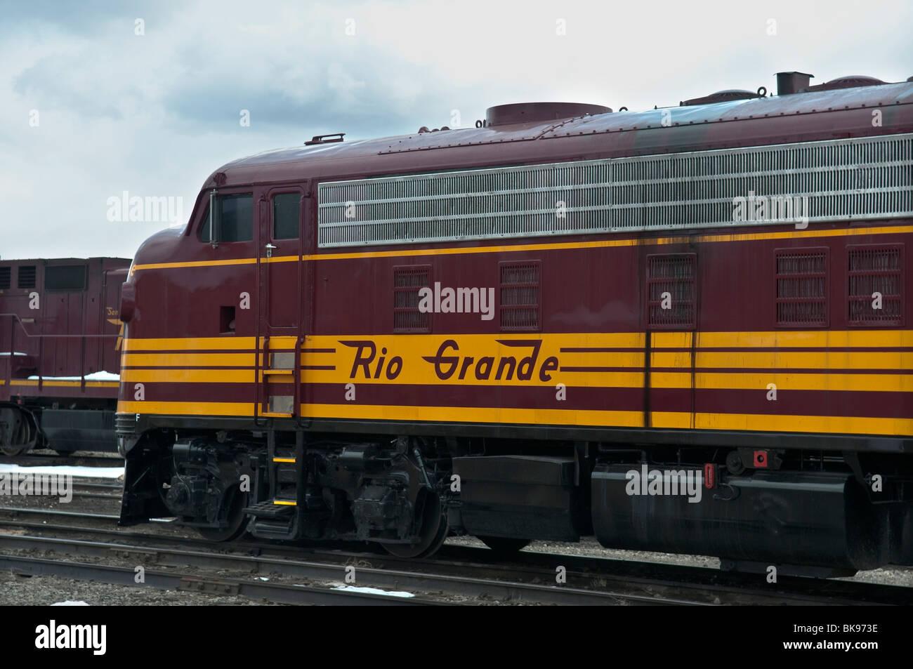 Old Denver Rio Grande Western railroad diesel locomotive - Stock Image