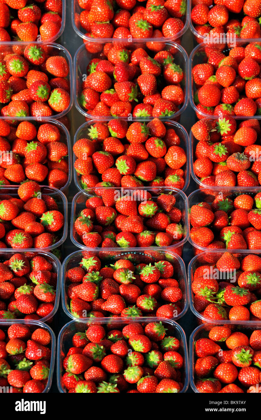 Greengrocer  shop outdoor display of Strawberries and packaging - Stock Image