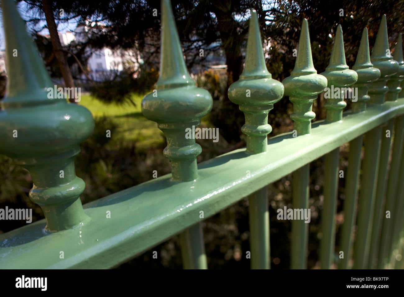 Green cast iron railings - Stock Image
