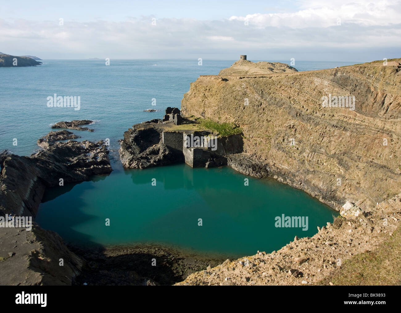 The Blue Lagoon at Abereiddy in Pembrokeshire West Wales - Stock Image
