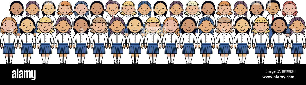 School children standing in school assembly Stock Photo ...