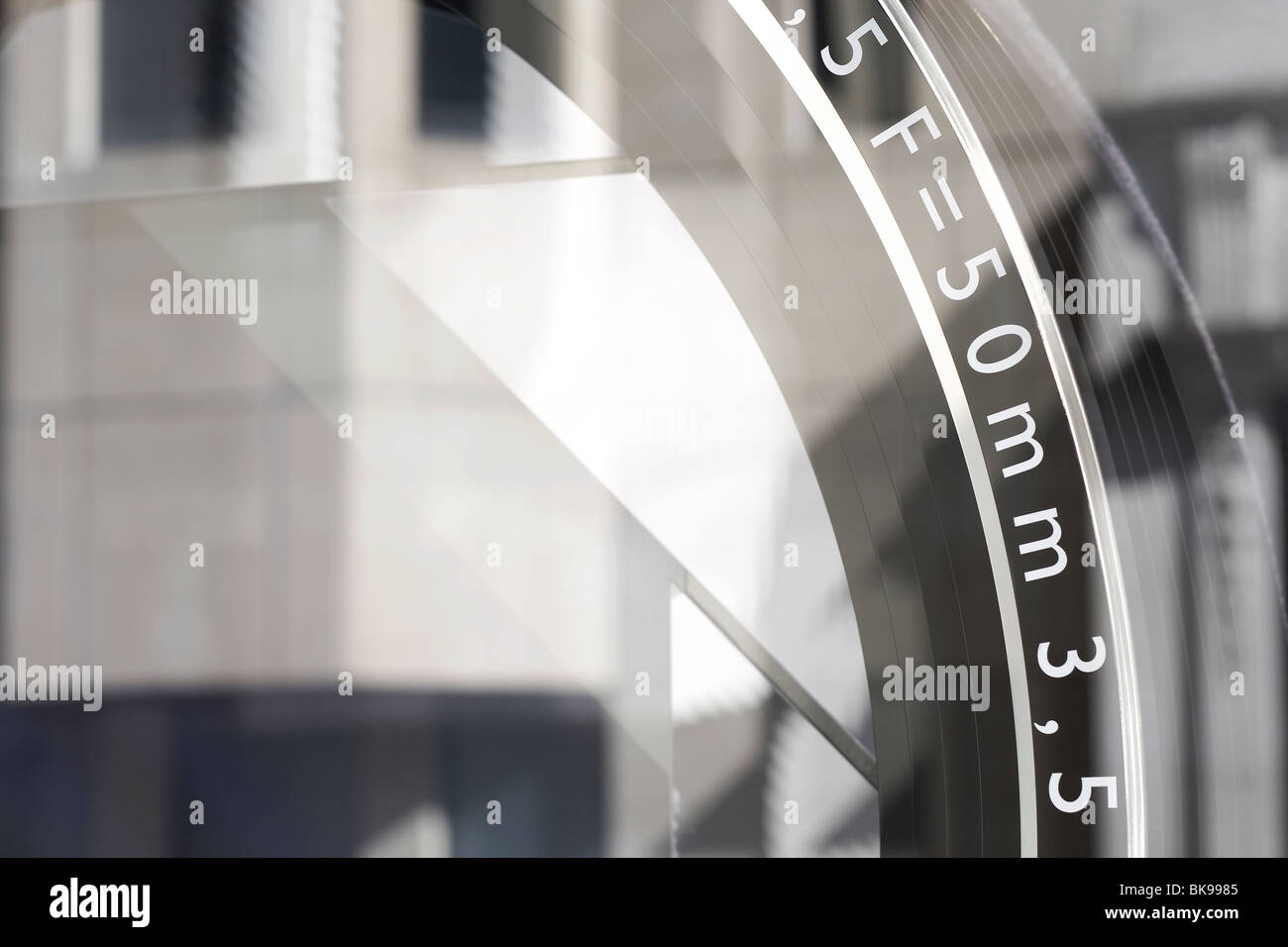 camera lens in stylised window display Stock Photo