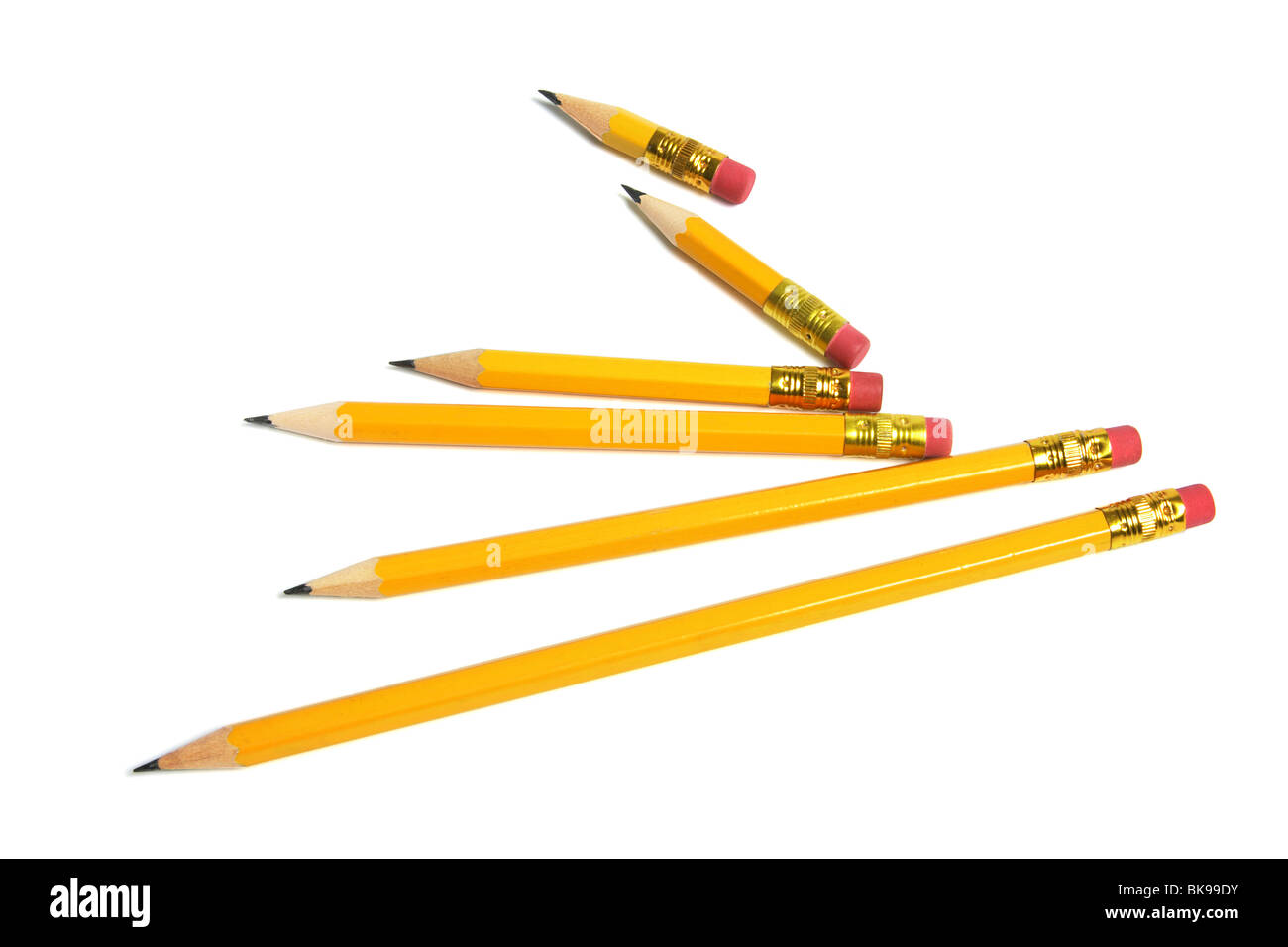 Long and Short Pencils - Stock Image