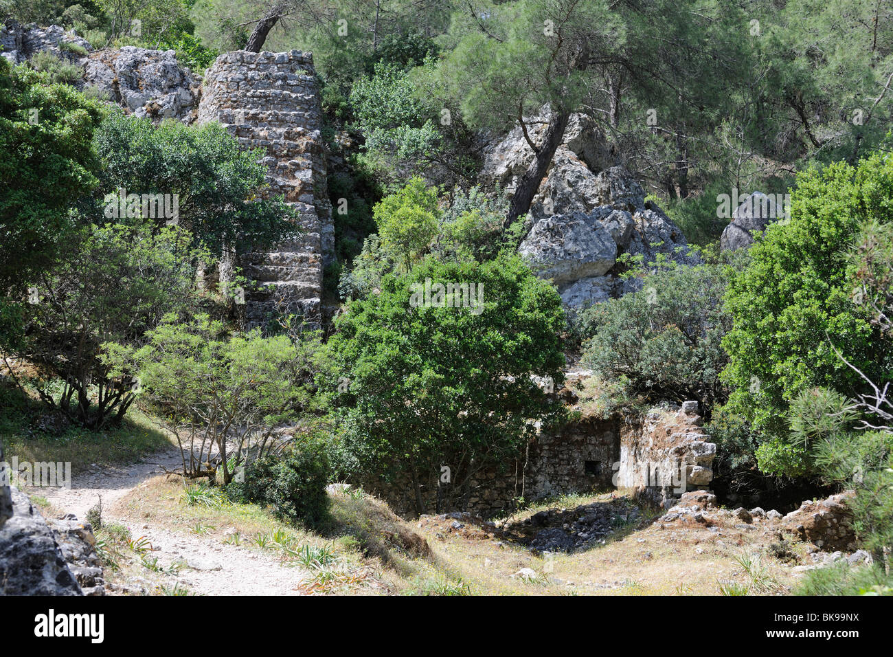 Remains of an old mill in Epta Piges, Valley of the Seven Sources, Rhodes, Greece, Europe - Stock Image