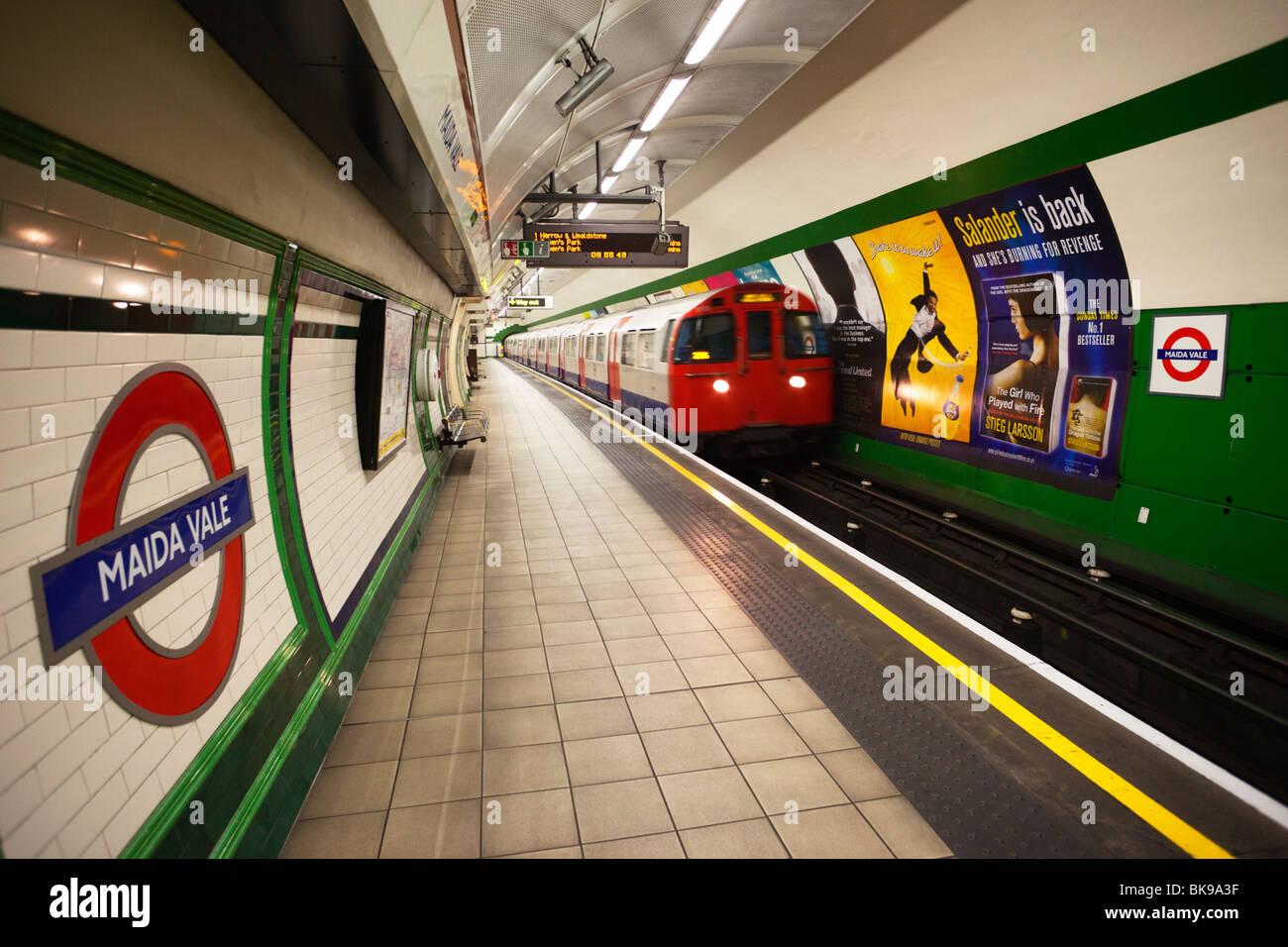Train at a subway station, London Underground, London, England - Stock Image