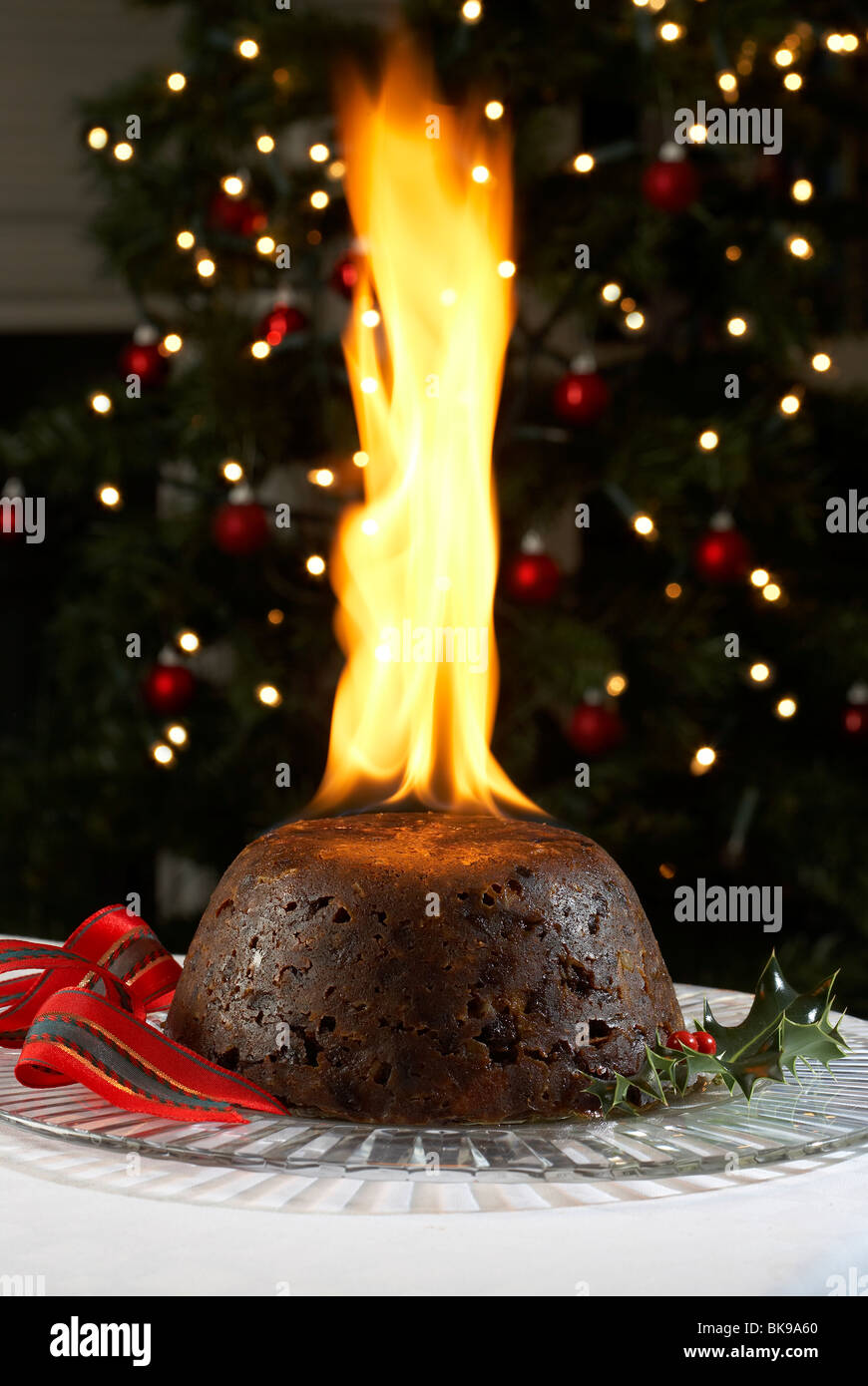 Christmas Pudding On Fire.Christmas Pudding Flame Stock Photos Christmas Pudding