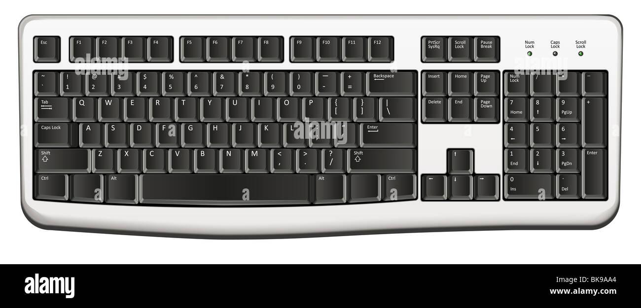3d keyboard computer illustration - Stock Image