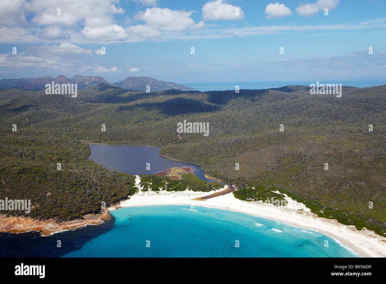 Friendly Beaches, Point Friendly, and Freshwater Lagoon, Freycinet National Park, Freycinet Peninsula,  Tasmania, - Stock Image
