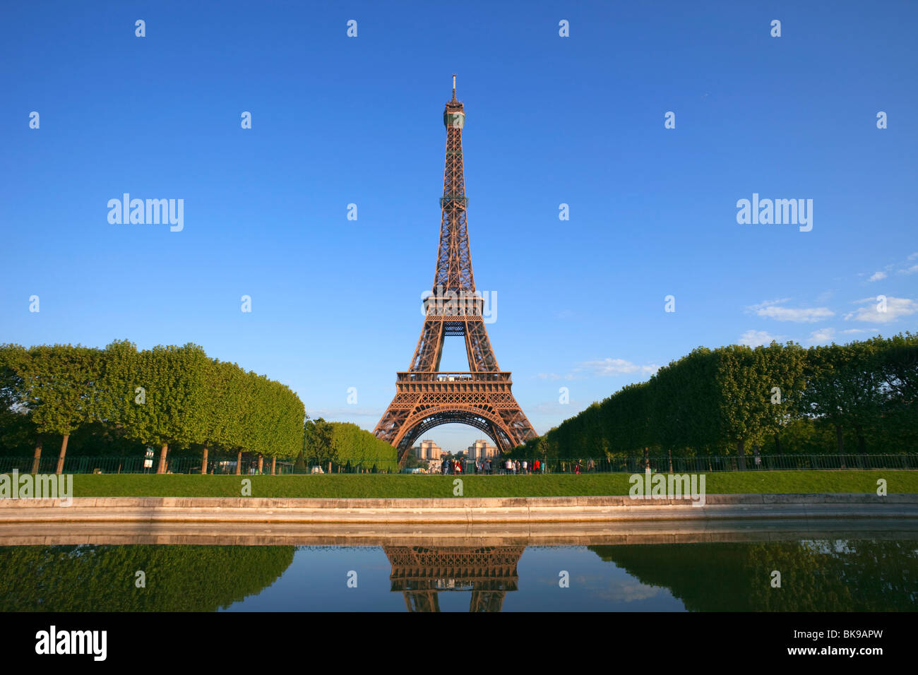 Reflection Of A Tower In Water Eiffel Tower Paris France Stock Photo Alamy