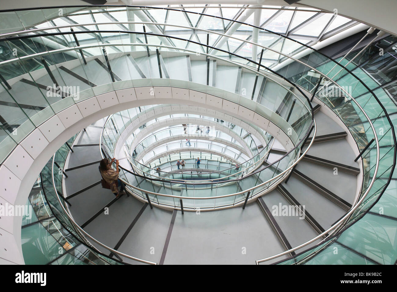 Helical walkway in a city hall, Southwark, London, England Stock Photo