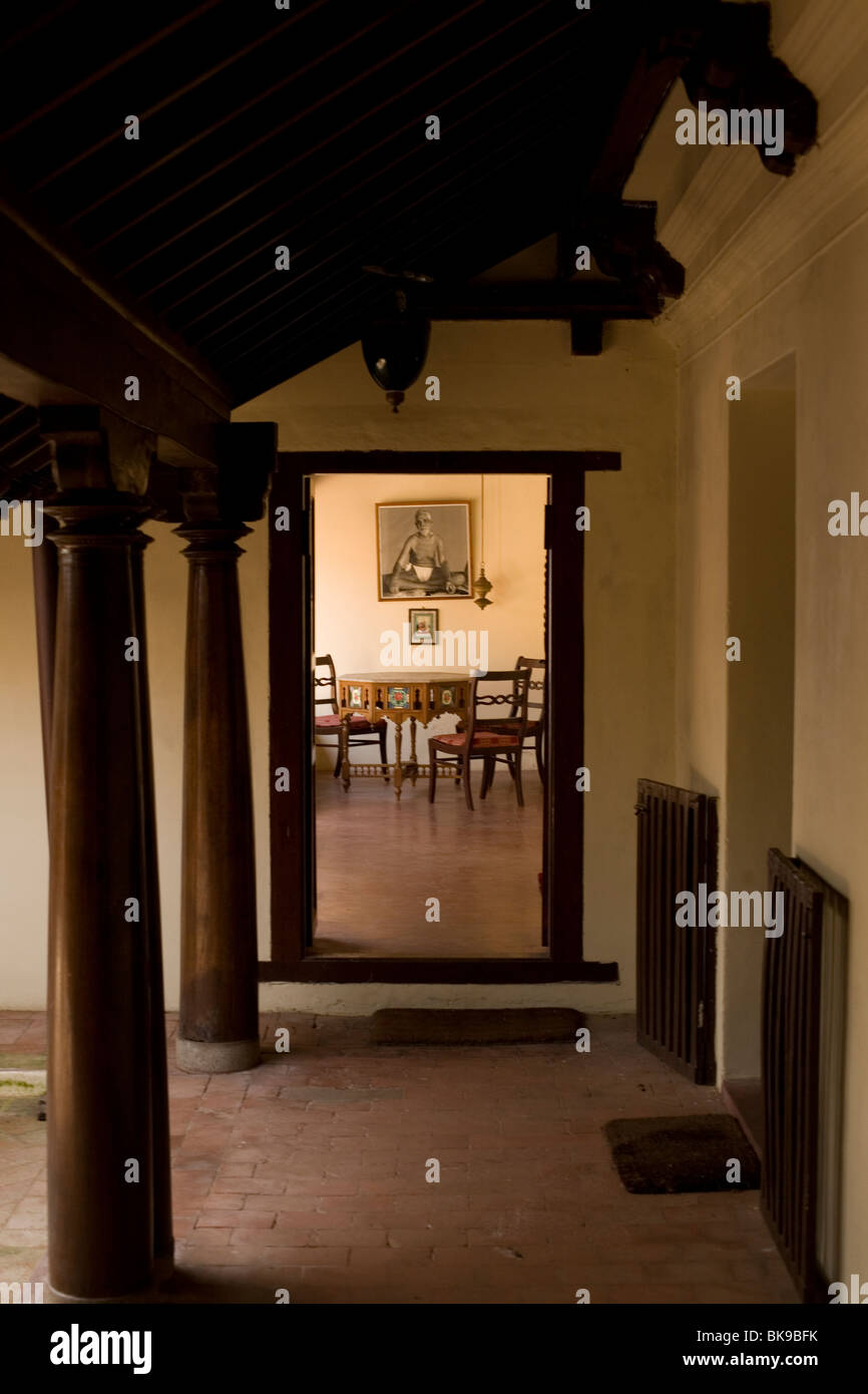 A doorway in the Sterling Swamimalai Hotel (now Anandha) The hotel is an old, restored Brahmin House - Stock Image