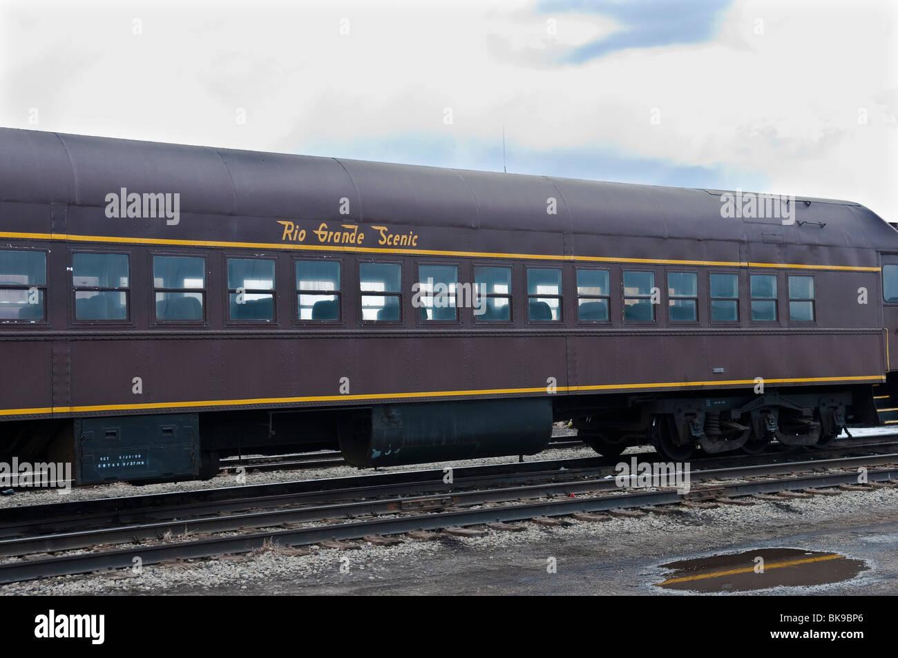 Old Denver Rio-Grande-Western Scenic railroad passenger car - Stock Image