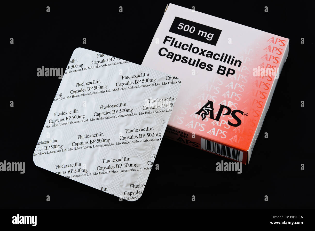Box and blister pack of Flucloxacillin antibiotic, 500mg - Stock Image