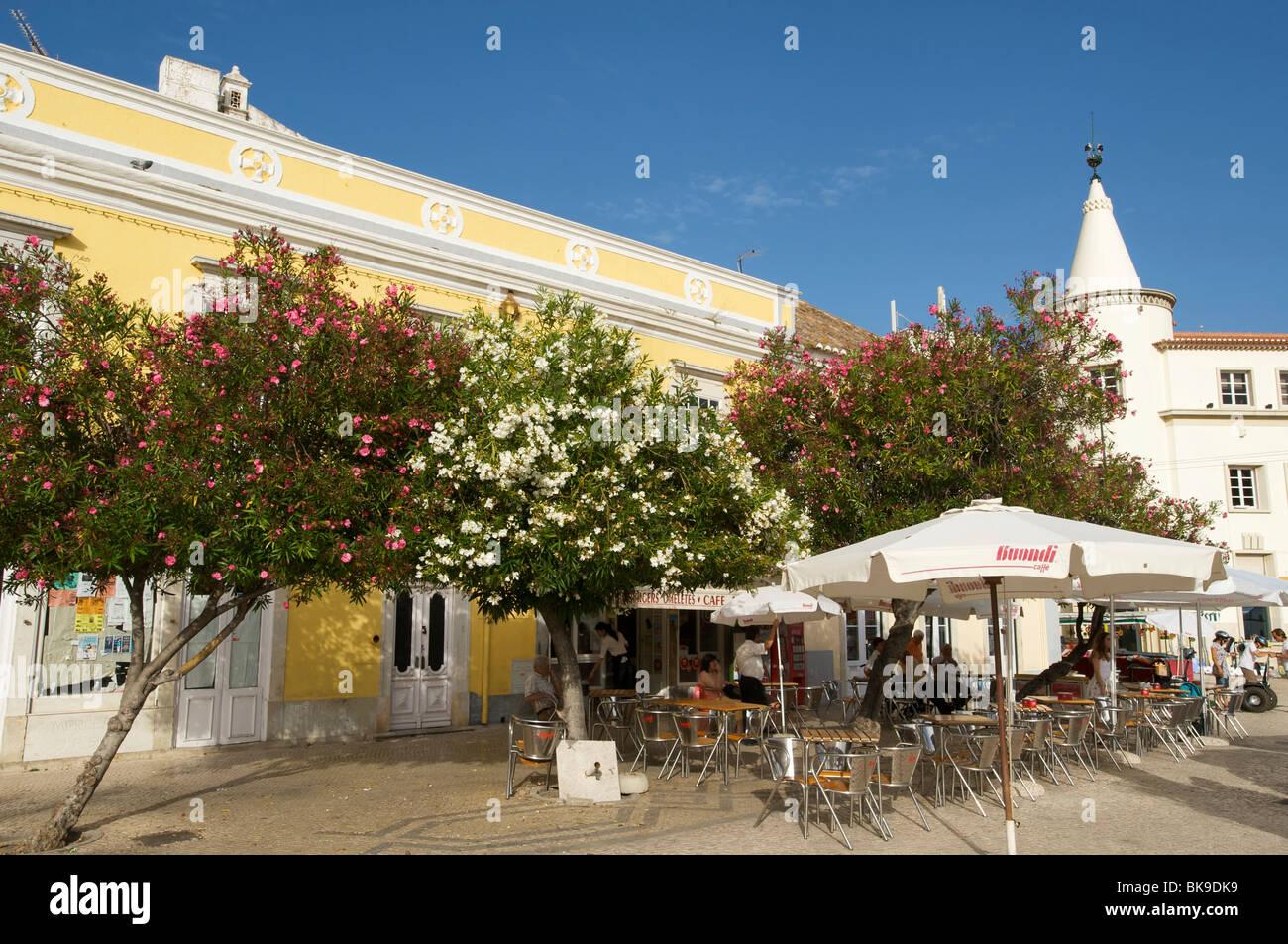 Street cafe in Faro, Algarve, Portugal, Europe Stock Photo