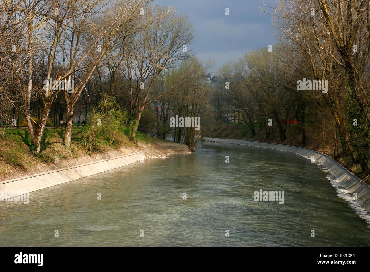 River Dora Riparia in Lungo Dora Voghera (near the convergence with ...