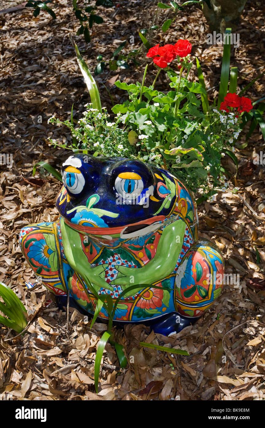Kanapaha Spring Garden Festival Gainesville Florida Garden Art Colorful Frog  Pot   Stock Image