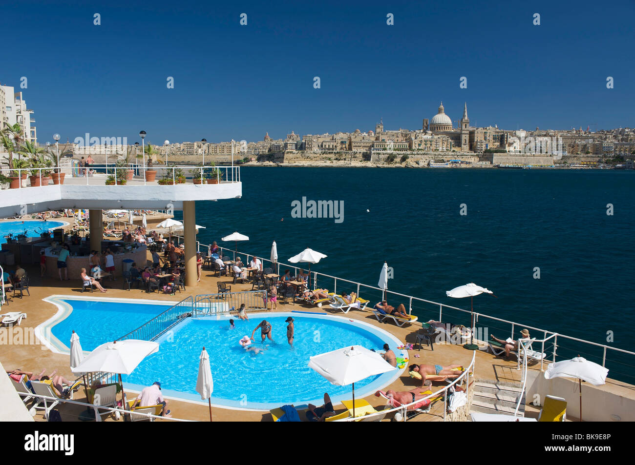 View from a hotel pool in Sliema on Valletta, Malta, Europe Stock Photo