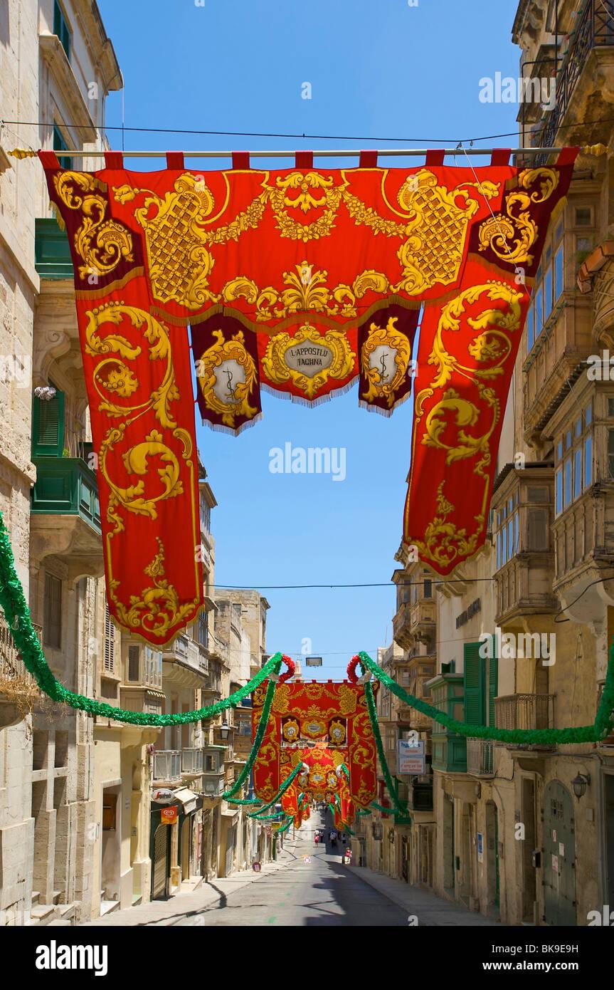 Shopping street in Valletta, Malta, Europe - Stock Image