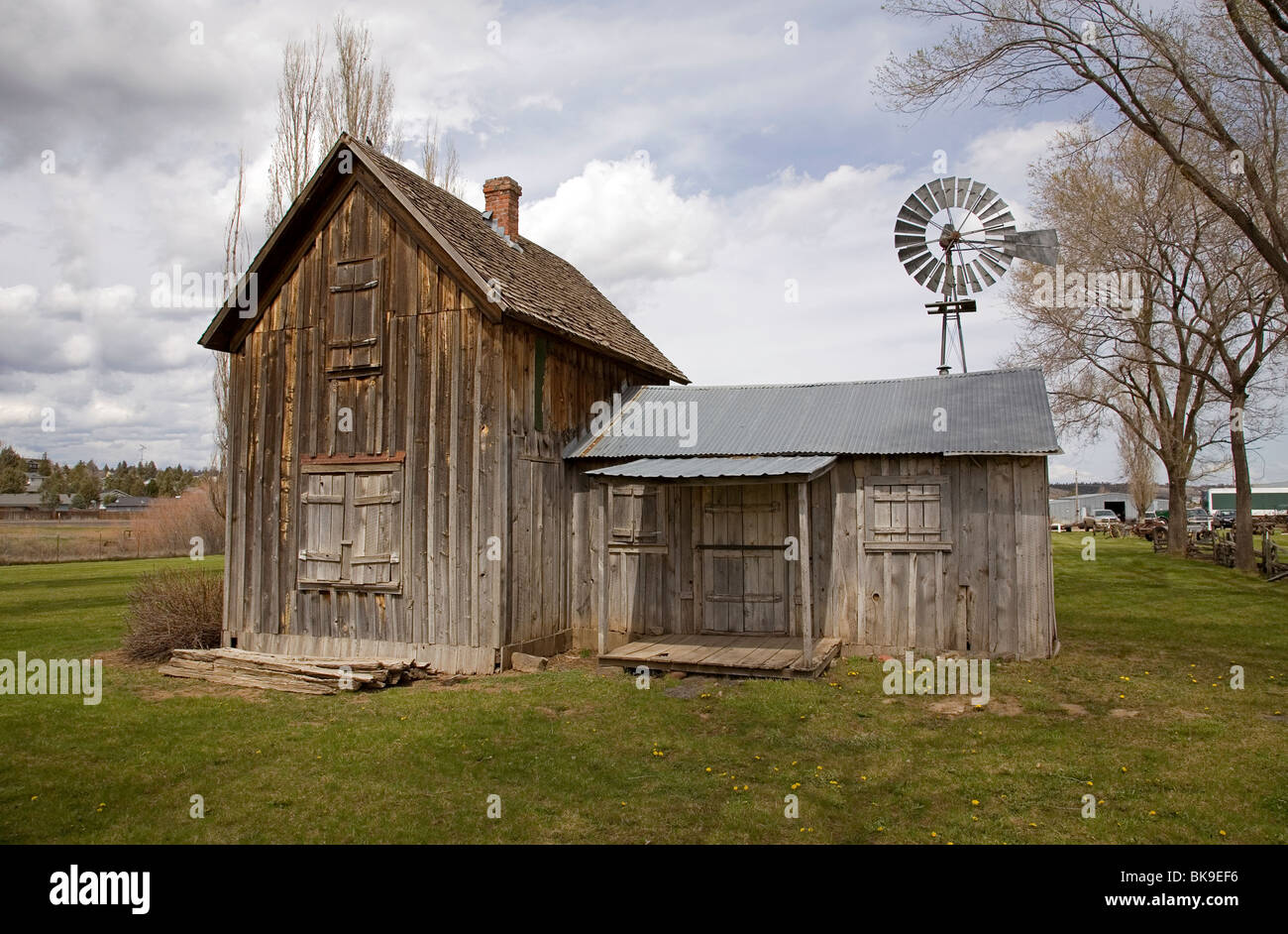 A 150 year old pioneer two story house from the 1800 Old West Stock Photo