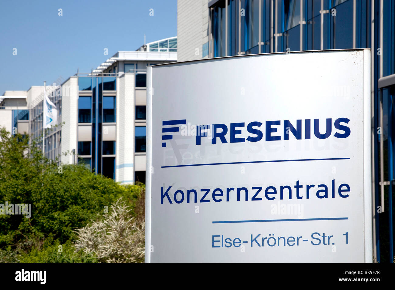 Sign with the logo of the corporate headquarters of the Fresenius SE company in Bad Homburg von der Hoehe, Hesse, - Stock Image