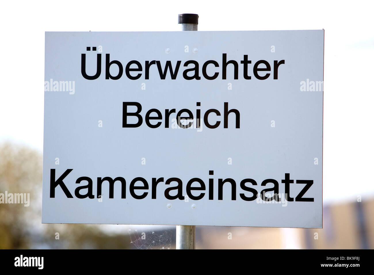 Sign camera surveillance, surveillance camera use area, in Bad Homburg von der Hoehe, Hesse, Germany, Europe Stock Photo