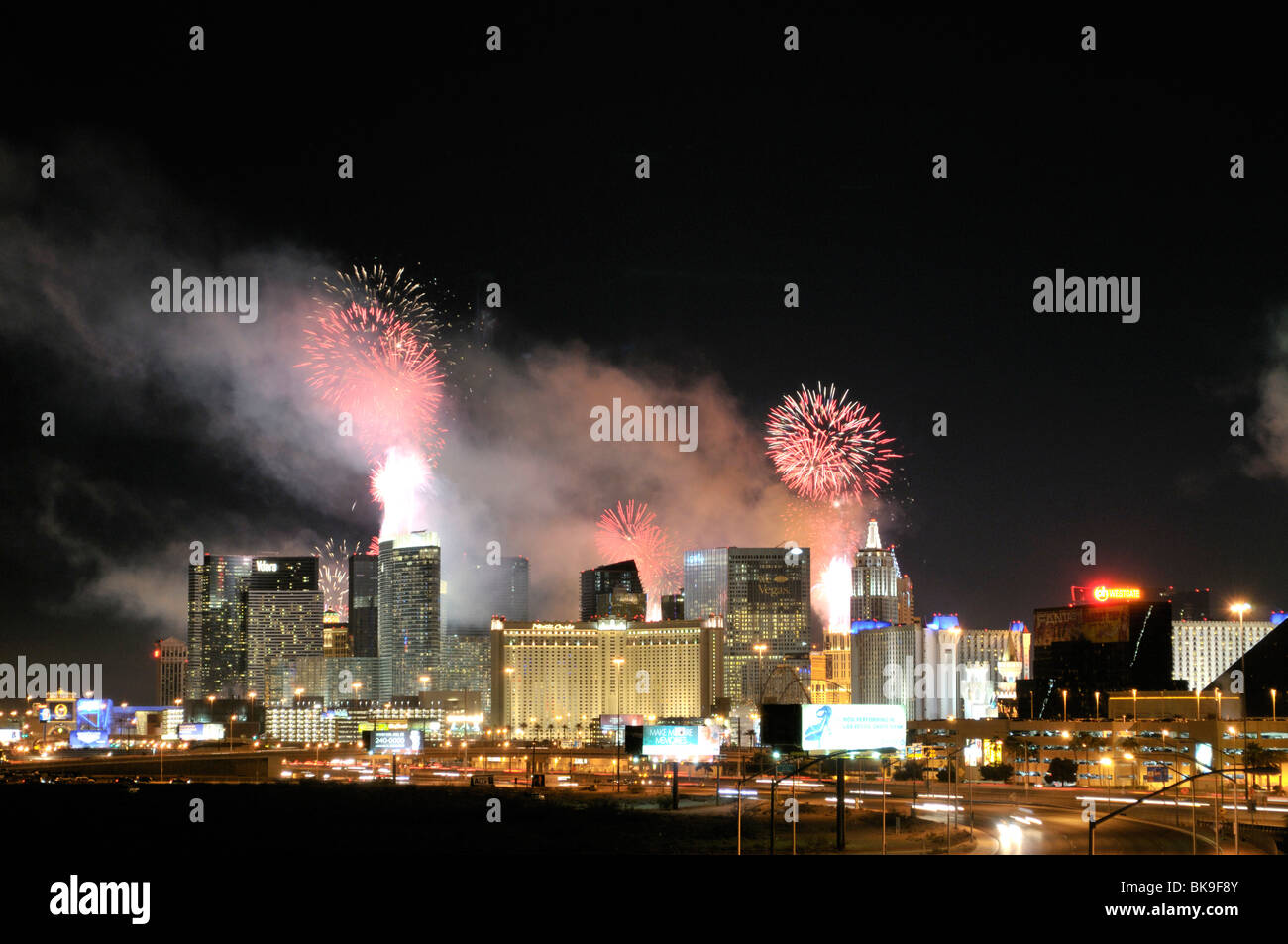 Firework display at New year's eve in a city, Las Vegas, Nevada, USA - Stock Image