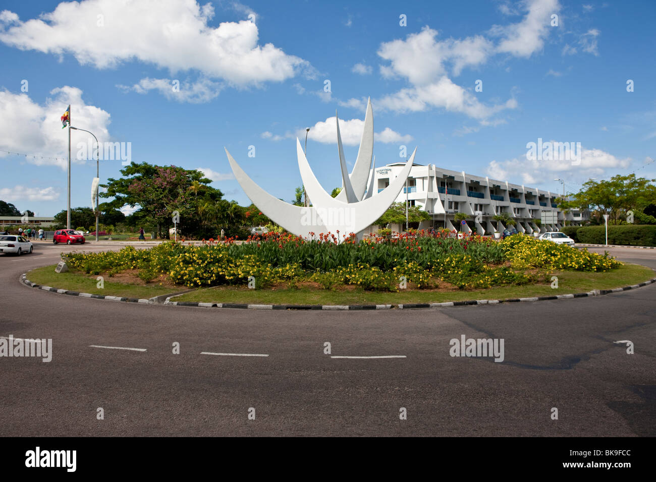 Bicentennial monument in a roundabout in front of Oceangate House, the capital city of Victoria, Mahe Island, Seychelles, - Stock Image