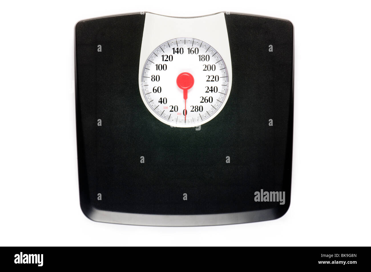 weight scale alone on white surface - Stock Image