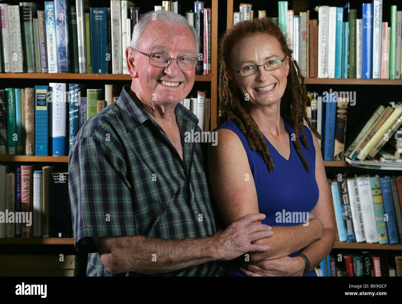 New Zealand's most famous fiction writer Maurice Gee, at home in Nelson with his daughter Emily, also an author. - Stock Image