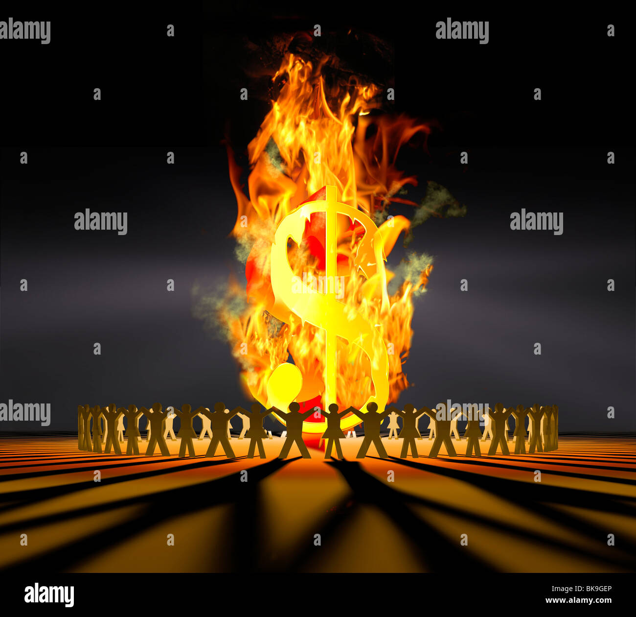 Fire Circle Cutout Front 2 by Mike Agliolo, computer graphics - Stock Image