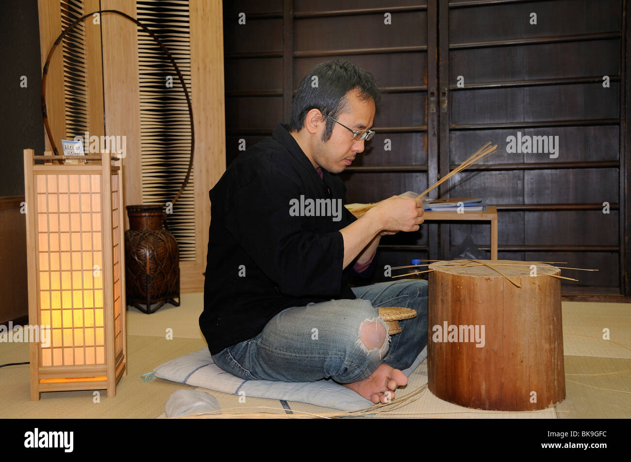 Manufactory for bamboo items and bamboo lamps, Kyoto, Japan, Asia - Stock Image