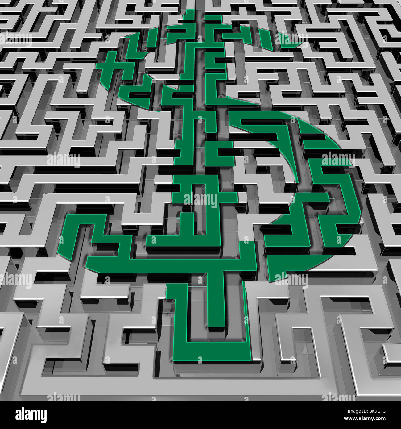 Metal Maze by Mike Agliolo, computer graphics - Stock Image