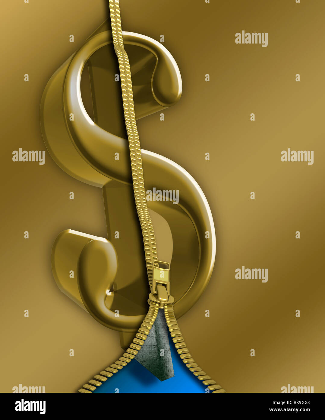 Zipper Long Gold by Mike Agliolo, computer graphics - Stock Image