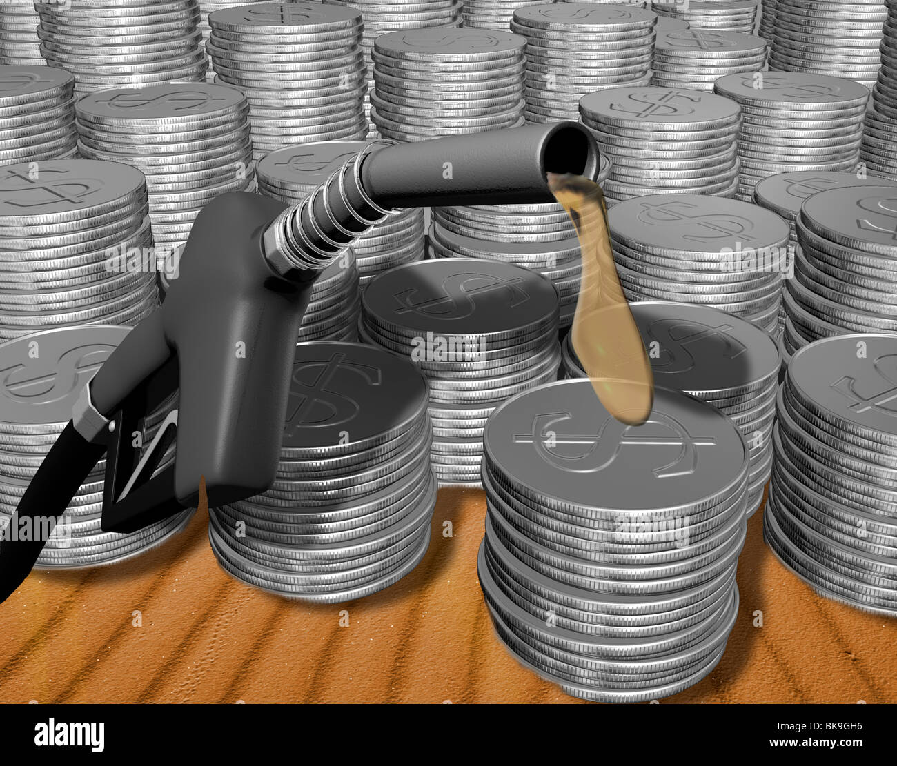Oil Coins dollar by Mike Agliolo, computer graphics - Stock Image