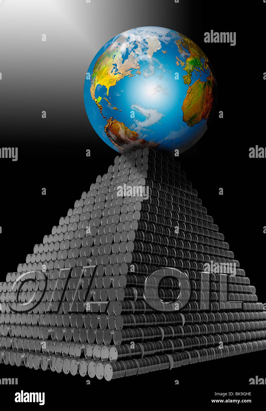 Oil Earth Barrels Pyramid by Mike Agliolo, computer graphics - Stock Image