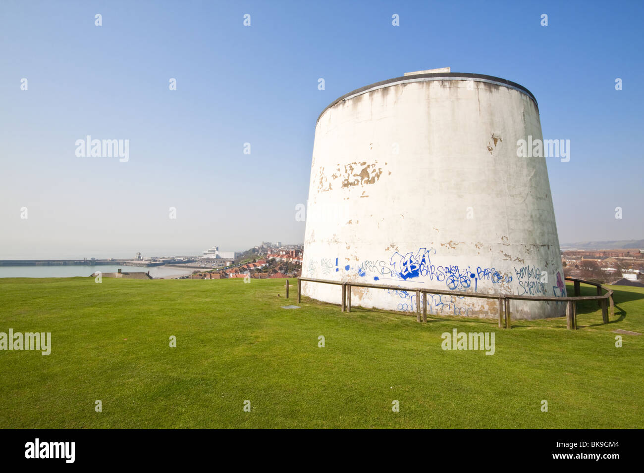 Martello Tower No. 3 Folkestone Kent Looking Towards the Town and Harbour - Stock Image