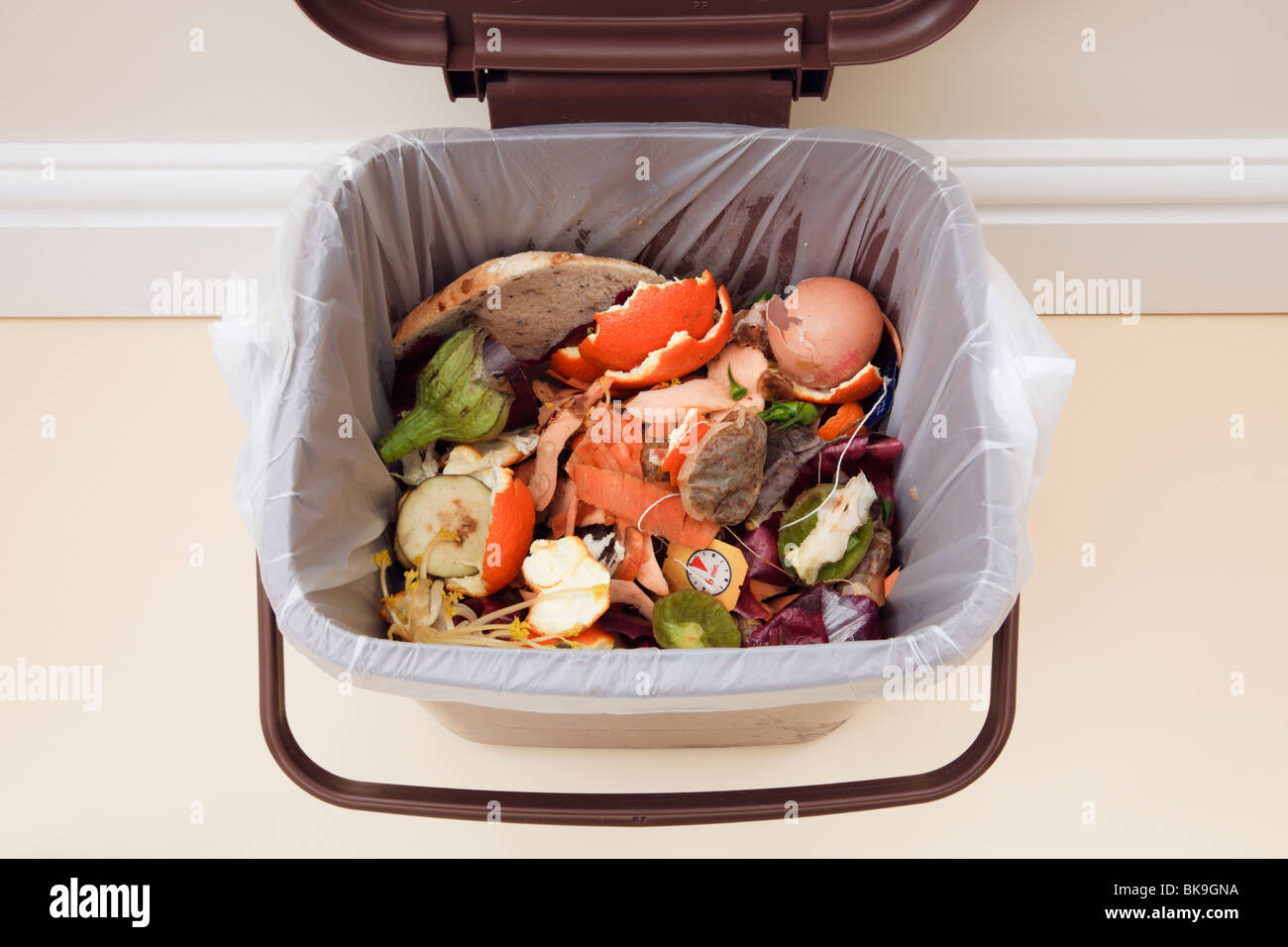 Top down of domestic household food waste in indoor food recycling bin caddy with lid open indoors. England UK Britain - Stock Image