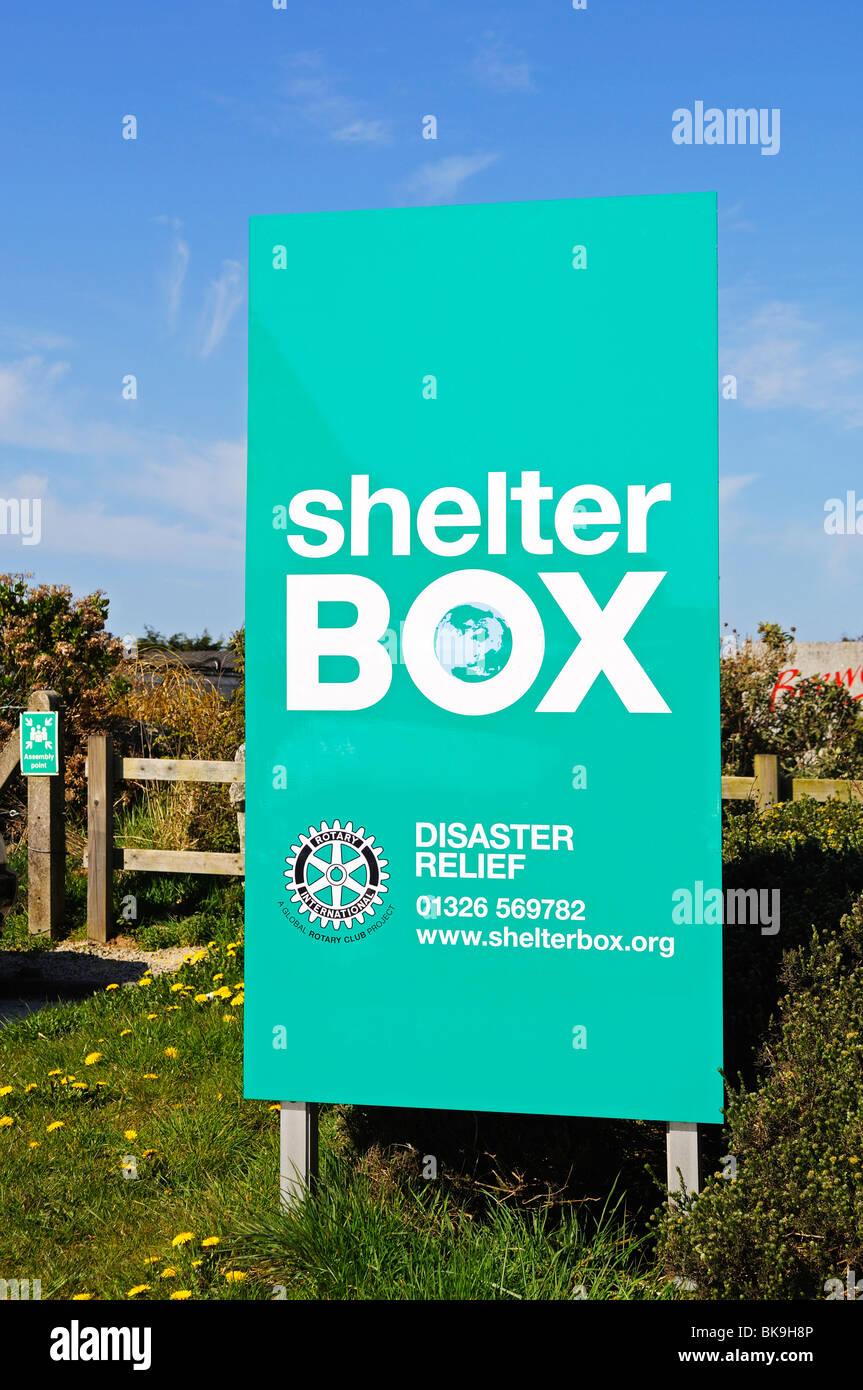 shelter box sign, helston, cornwall, uk - Stock Image