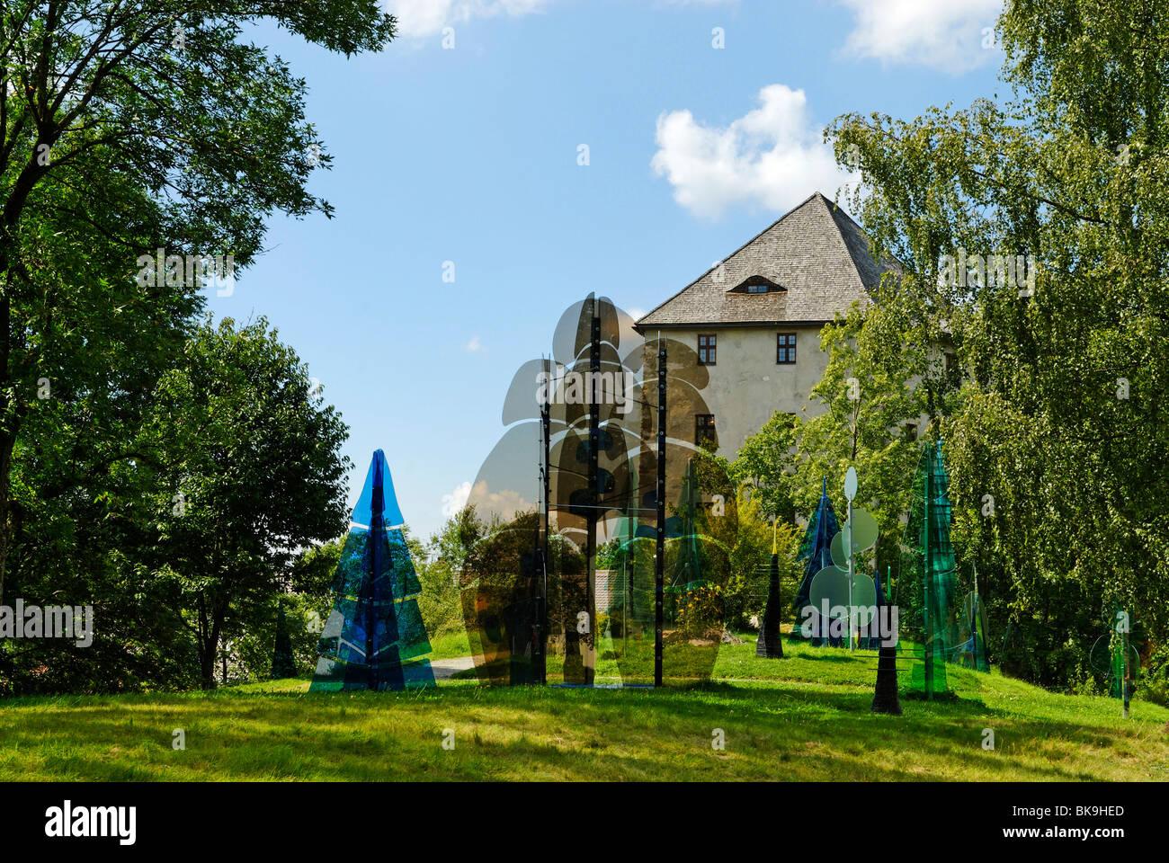 Glass forest in front of the Weissenstein ruins near Regen, Bavarian Forest, Lower Bavaria, Bavaria, Germany, Europe Stock Photo