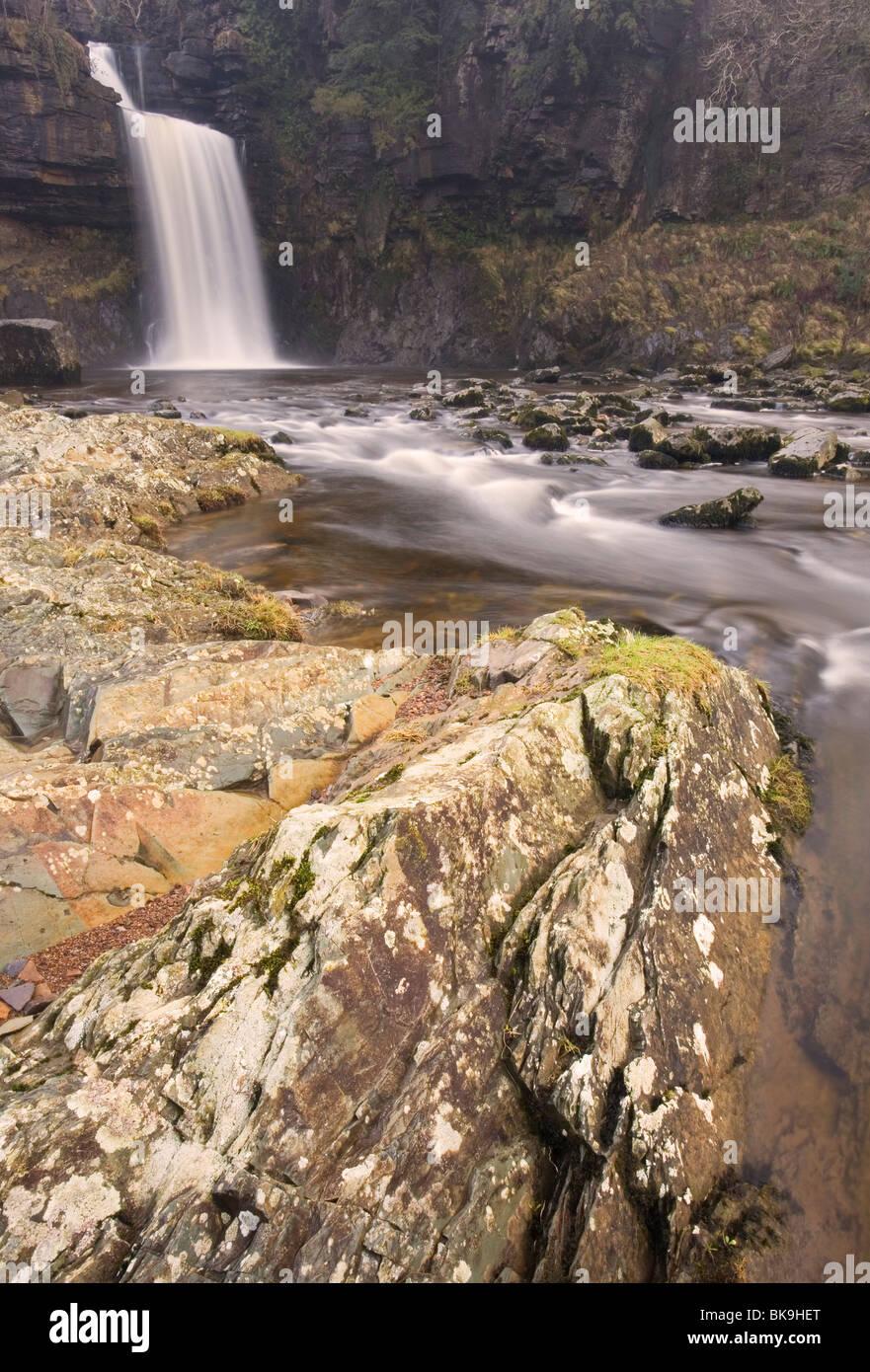 Thornton Force Waterfall, part of 'The Ingleton Waterfalls Walk' at Ingleton, Ribblesdale, Yorkshire Dales, - Stock Image