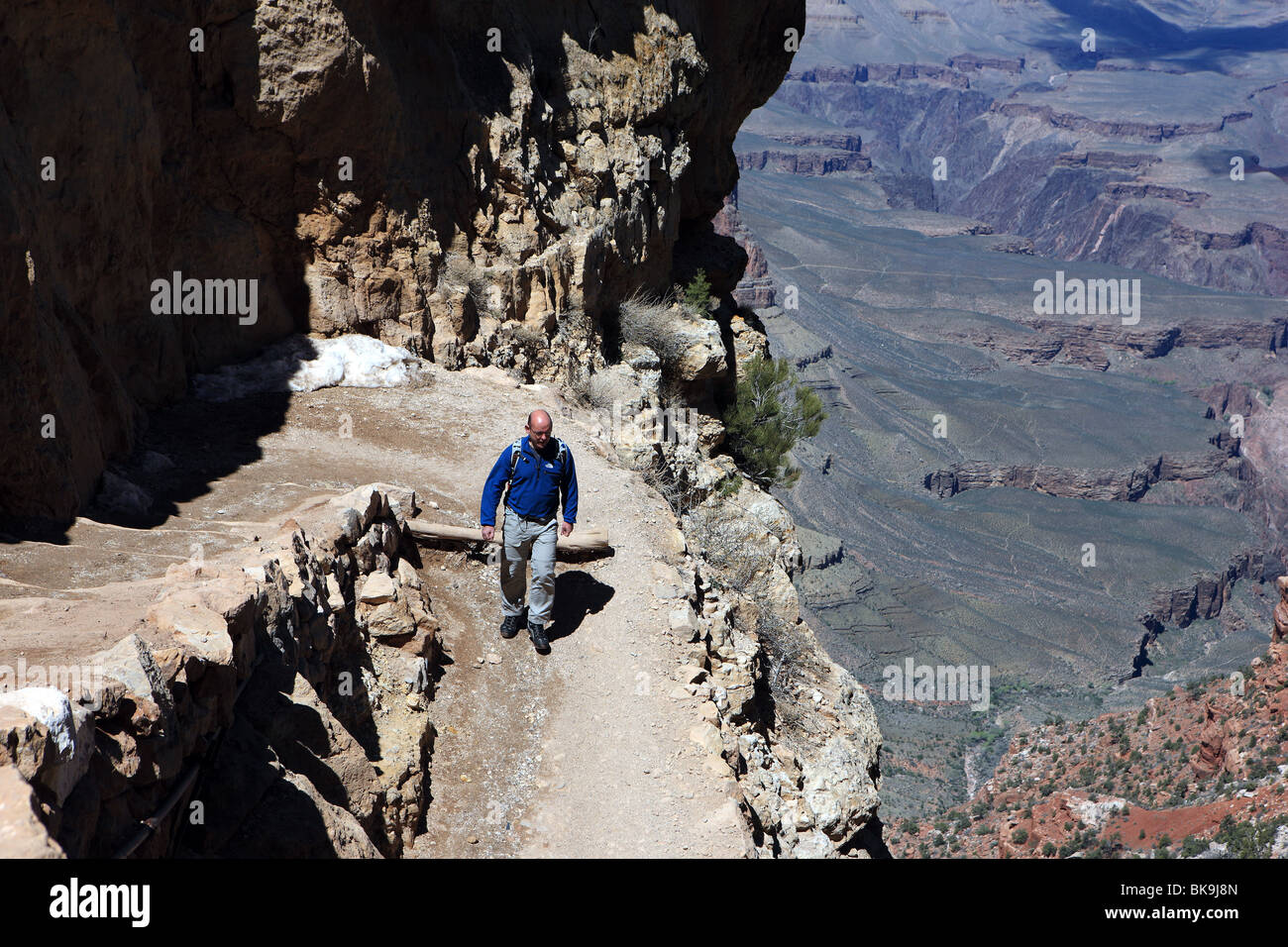 Walker on the South Kaibab Trail in the Grand Canyon - Stock Image