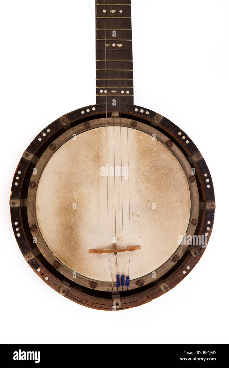musical instruments, body of antique 5 string zither banjo, possibly by Temlett - Stock Image
