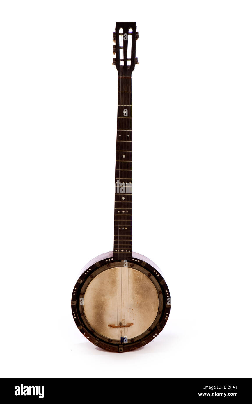 musical instruments, antique 5 string zither banjo, possibly by Temlett - Stock Image