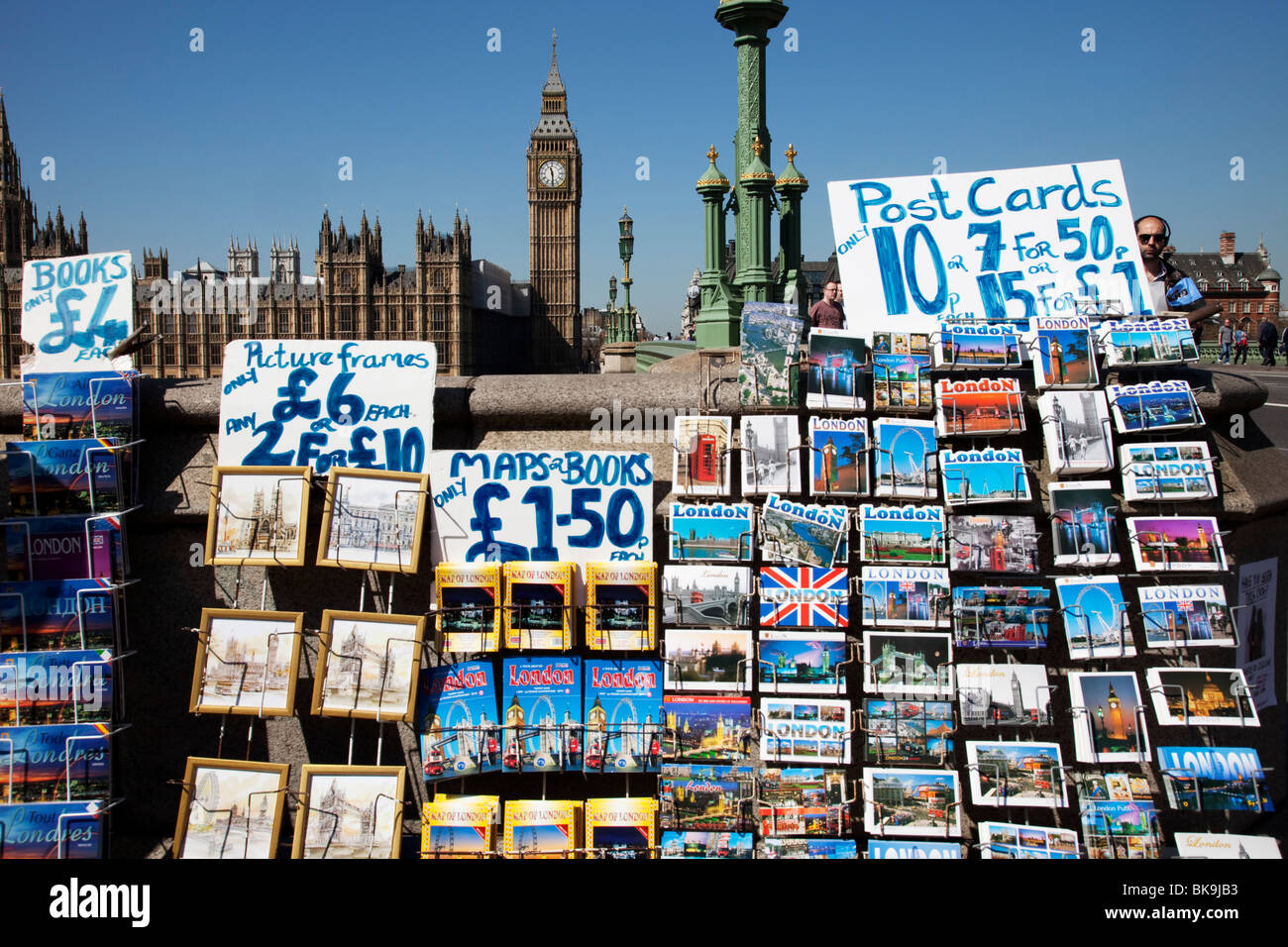 Postcards for sale at Westminster near the Houses of Parliament. London. - Stock Image
